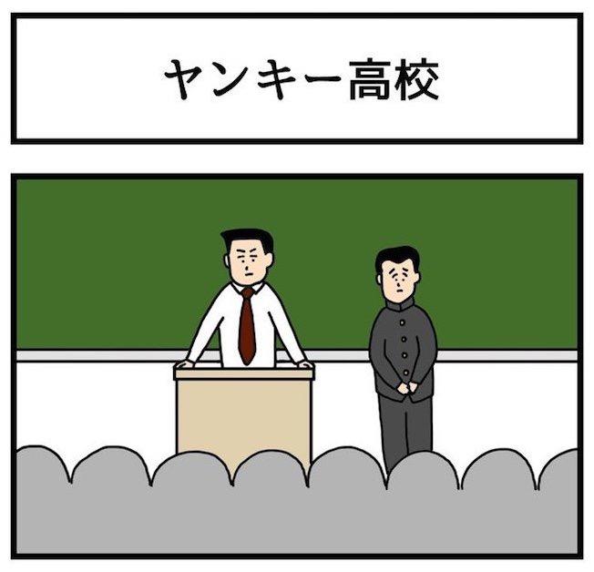 【いとわズの楽しい4コマ】ヤンキー高校